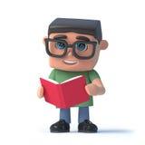o menino 3d que veste vidros lê um livro Imagem de Stock Royalty Free