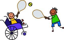 O menino deficiente joga o tênis ilustração royalty free