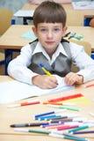 O menino desenha Foto de Stock Royalty Free