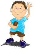 O menino diz olá! desenhos animados Fotografia de Stock