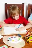 O menino do desenho do retorno da escola Fotos de Stock Royalty Free