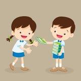 O menino do estudante dá um livro ao amigo ilustração royalty free