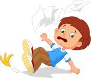 O menino dos desenhos animados cai para baixo Fotografia de Stock Royalty Free