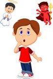 O menino dos desenhos animados confunde na escolha entre bens e o mal Imagens de Stock