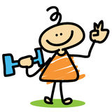 O menino dos desenhos animados pesa o treinamento Fotografia de Stock