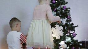 O menino e a menina decoram uma árvore de Natal com flocos de neve e flores vídeos de arquivo