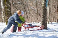 O menino e a menina empurram o sledge no inverno na madeira Fotografia de Stock Royalty Free