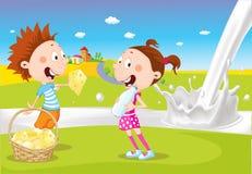 O menino e a menina guardam o queijo e o leite perto do rio leitoso no fundo natural - vetor dos desenhos animados ilustração stock