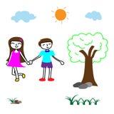 O menino e a menina inocentes felizes do vetor da garatuja guardam um as mãos do ` s no parque, campo de jogos do ` s das criança ilustração do vetor