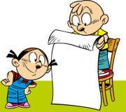 O menino e a menina leram Foto de Stock Royalty Free