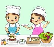 O menino e a menina que cozinham o alimento saudável vector a ilustração ilustração royalty free