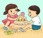 O menino e a menina que jogam com areia vector a ilustração ilustração royalty free