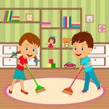 O menino e a menina são quarto desinfetado ilustração do vetor