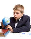 O menino e os livros imagens de stock royalty free