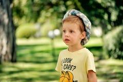 O menino em um chapéu Fotos de Stock Royalty Free