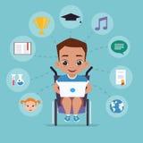 O menino em uma cadeira de rodas está estudando através do Internet Imagens de Stock