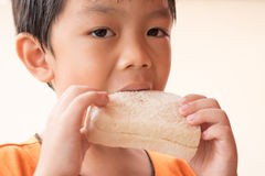 O menino está comendo o pão de forma imagem de stock royalty free