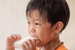 O menino está comendo o pão de forma fotografia de stock royalty free