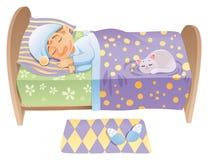 O menino está dormindo em sua cama ilustração stock