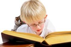 O menino está lendo um bom livro foto de stock