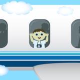 O menino está voando em um plano Fotografia de Stock Royalty Free
