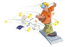 O menino está voando no teclado. ilustração royalty free