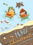 O menino feliz e a menina que fazem uma neve Angel ilustração stock