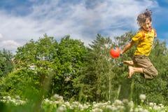 O menino feliz novo que joga bola em natural imagem de stock royalty free