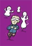 O menino funciona antes dos fantasmas Imagem de Stock