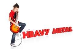 O menino joga na guitarra elétrica com texto 3d Fotos de Stock Royalty Free