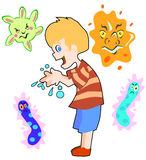 O menino lava as mãos Imagem de Stock