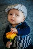 O menino mantém uma rosa amarela disponivel Fotografia de Stock Royalty Free