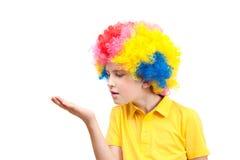O menino na peruca do palhaço Fotografia de Stock Royalty Free