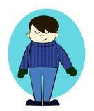 O menino no inverno veste desenhos animados Imagem de Stock Royalty Free
