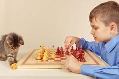O menino novo com gatinho bonito joga a xadrez imagens de stock