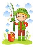 O menino novo era pesca indo Imagens de Stock Royalty Free