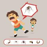O menino obtém mordido por insetos ilustração do vetor