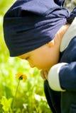 O menino olha a flor Fotografia de Stock