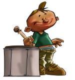 O menino pequeno do baterista ilustração do vetor