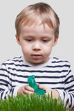 O menino polvilha a grama verde Fotos de Stock Royalty Free