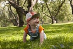 O menino que joga na grama Fotos de Stock Royalty Free
