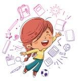 O menino que salta com conceitos da educação ilustração royalty free