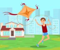 O menino que salta com ilustração lisa do vetor do papagaio ilustração stock