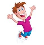 O menino que salta para a alegria Fotografia de Stock Royalty Free