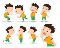 O menino tem a maravilha e ações confusas ilustração stock