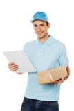 O mensageiro do serviço de mensageiro entrega o pacote Foto de Stock
