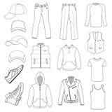 O menswear, a chapelaria & as sapatas esboçados temperam a coleção ilustração stock