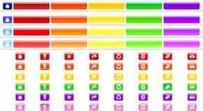 O menu abotoa a coleção da cor Imagem de Stock