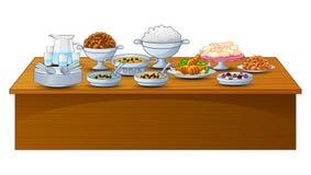 O menu delicioso para o partido iftar está na tabela ilustração royalty free
