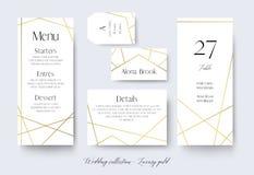 O menu do casamento, etiqueta, detalhes, lugar, número da tabela carda delicado ilustração do vetor